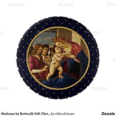 Fine Art Design Christmas Gift Jelly Belly™ Tins with Candy. Madonna by Botticelli, from 1490 until 1495. Matching cards, postage stamps and other products available in the Christmas & New Year Category of the oldandclassic store at zazzle.com
