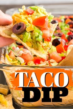 This family favorite taco dip uses refried beans, guacamole, sour cream, cream cheese, taco seasoning and plenty of crunchy toppings. The perfect party dip! #tacodip #dip #appetizers #taco #tacotuesday #tacoseasoning #potluck #bbq #amandascookin Sour Cream Dip, Cream Cream, Dip Appetizers, Appetizer Recipes, Cold Taco Dip, Cold Dips, Cooking Recipes, Healthy Recipes, Dip Recipes