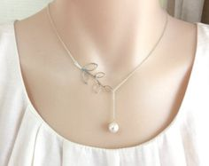 Branch Pearl Necklace, Bridesmaid Gift, Lariat Necklace, Silver or Gold Branch, Brides Necklace, Pearl Necklace, Mother of The Bride Gift