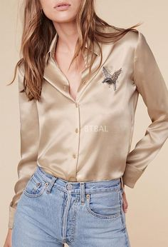 2e0c995791967 New brand LA pearl shine 100% silk fly bird embroidery women long sleeve  shirt lady