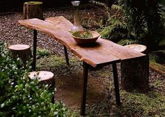 Rustic Tivoli table from salvaged catalpa wood ($2,800). An elegant and sturdy custom made outdoor table by Gray Works Design. Gray Works offers custom-built tables and benches from salvaged pine, black walnut, American cherry, maple, catalpa and other varieties, based on availability.