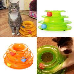Tres Niveles Torre Pistas Disco Gato Mascota de Juguete de Inteligencia Juegos Mecánicos Estante
