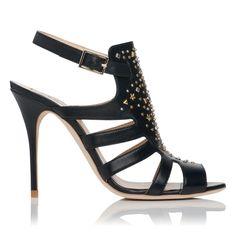 Gladiator Sandals | Salinas Riveted Leather Gladiator Sandal Black L.K.Bennett