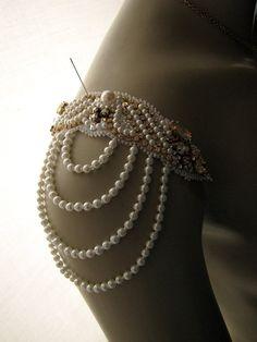 Bridal Jewelry Epaulet Earring and Necklace Set by Binkaminka