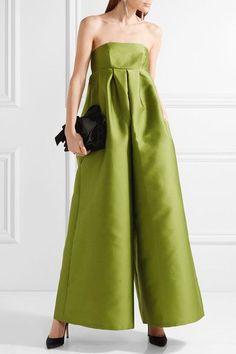 Merchant Archive - Strapless Duchesse-satin Jumpsuit - Leaf green - UK