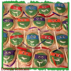 TMNT rice crispy treat pops decorated with fondant