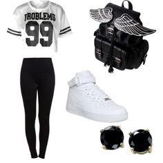 comfort swag by shyenne183 on Polyvore featuring polyvore fashion style Pieces NIKE B. Brilliant