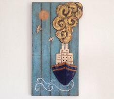 Rustic ship bow, ceramic ship bow with steam and captains cabin, colorful ceramic ship, Greek folk art, Greek ship wall hanging Coastal Furniture, Coastal Decor, Coastal Entryway, Coastal Interior, Modern Coastal, Coastal Farmhouse, Coastal Cottage, Coastal Style, Coastal Curtains