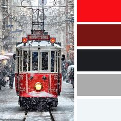 red and white trolley (the site is in Russian, so this may be a scene from somewhere there, but then again...) (color id: Pantone, by leaff)