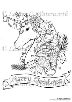 This is a beautifully detailed colouring page for adults featuring a Festive Unicorn. Inspired by my love of Fantasy and Christmas. Created from original hand drawn pen & ink artwork by Lauren C. Waterworth.  WHAT YOU GET:  *An A4 sized High Resolution Colouring Page *Provided in JPEG format HOW TO COLOUR IT IN:  *Print at home on good quality white paper or card or Marker pen Paper. (Photo paper not recommended) *Colour by hand using Alcohol Markers, pencil crayons, paints or anything you…