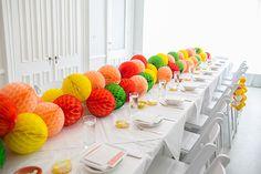 Honeycomb ball table dinner