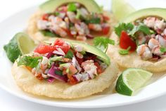 MYO Crab Ceviche- Luscious bites of crab mingled with red onion, fresh tomatoes, cilantro and the right blend of pepper and fresh citrus juice over a a crunchy light tostada. (Click on photo for recipe)