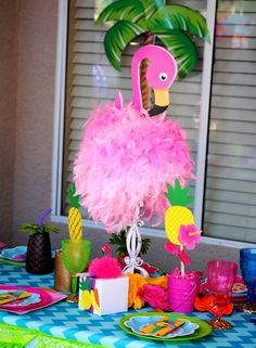 FLAMINGO Party- Flamingo Birthday- Pineapple  Luau Party- Flamingo CENTERPIECE