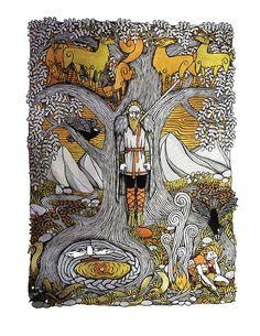 Odin on Yggdrasill by Hellanim.deviantart.com on @DeviantArt