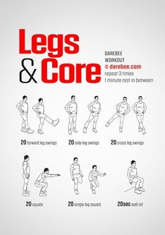 health fitness - Legs & Core, Level II Lunch breaks are times to also rejuvenate with a workout Leg Workouts For Men, Leg Workout At Home, Gym Workout Tips, Workout Challenge, Easy Workouts, At Home Workouts, Workout Plans, Workout Bodyweight, Dance Workouts