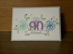 Zum 90. Geburtstag Karte Stampin up Up, Notebook, 90 Birthday, Cards, Exercise Book, The Notebook, Journals