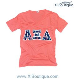 Xi Boutique Apparel - Alpha Xi Delta Coral V-Neck with Feather Sewn-On Letters!