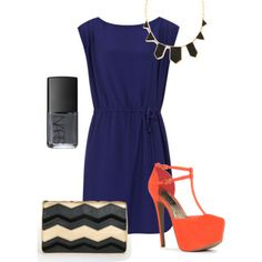 navy dress updated with black and gold accessories and coral pumps via JustFab