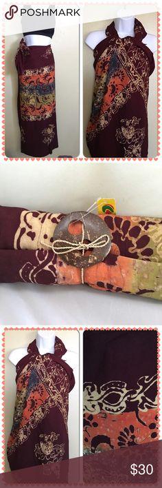 "Beautiful Bali Batik Sarong Wrap Selling one Large Batik Sarong. Size 46 1/8"" x 77 2/8"". New & originally from Indonesia. Dresses"