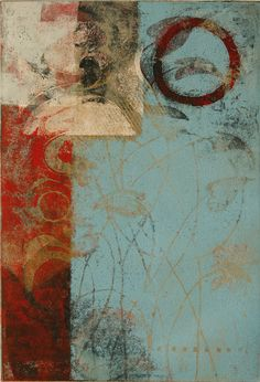 """Whispered Announcement, by Anne Moore, monotype, 15""""X10"""""""