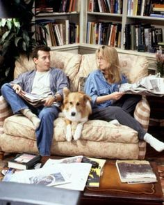 In Mad About You, Helen Hunt and Paul Reiser and Murray the dog One of my all time favorite shows! Dog Tv Shows, Great Tv Shows, Movies And Tv Shows, Animal Tv, Best Tv Couples, Famous Couples, Helen Hunt, You Mad, Mad About You