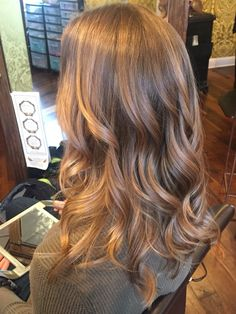 Light brown with honey blonde bayalage! Summer hair in the middle of a snow storm! Love!