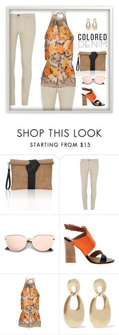 """Denim Neutral"" by patricia-dimmick ❤ liked on Polyvore featuring Dorothy Perkins, Pinko, Kenneth Jay Lane and coloredjeans"