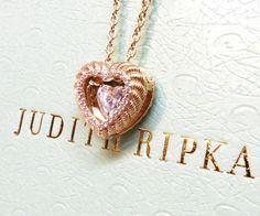 Judith Ripka Gold Clad Sterling Diamonique Twinkle 3D Heart Necklace FREE SHIP #JudithRipka #Pendant