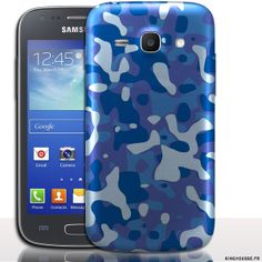 Coque telephone portable Samsung Galaxy ACE 4 Design Camouflage Bleu - Coque antichocs rigide
