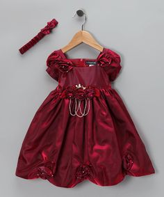 Take a look at this Burgundy Rhinestone Dress & Headband - Infant, Toddler & Girls by S Square on #zulily today!