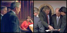 Vasen kuva: Vaimo Laura Bush seurasi, kun Bush neuvotteli tilanteesta Valkoisen talon tilannekeskuksessa.  Oikea kuva: Andrew Card, varapresidentti Dick Cheney ja turvallisuusneuvonantaja Condoleezza Rice.