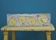 Mixed Media Easter Painting on Wood Baby Chicks