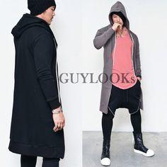 Extended Long Length Mens Designer Edge Long Jersey Hood Zip Up Jacket Guylook #Guylook #LongZipUpHood