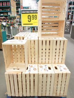 Where to find wood crates to make a deco original and not expensive Wooden Pallet Furniture, Crate Furniture, Wooden Crates, Wooden Boxes, Diy Projects For Adults, Diy Wood Projects, Diy Bedroom Decor, Diy Home Decor, Home Decoration