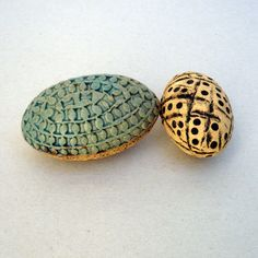 Turquoise And Rust Egg Ceramic Egg Ornament by BlueMagpieDesign, $31.00