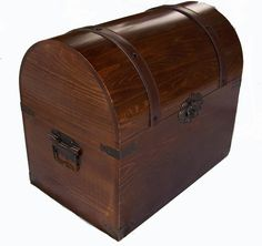 CHEST wooden pirate storage box VINTAGE LOOKING #201  #Unbranded NOT large NOT old