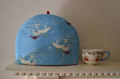 4 Sizes 4 Sizes Soft Blue on Natural White Cotton Charming Woodland Artisanal Luxe Tea Cozy