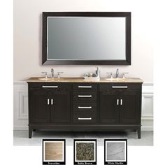 @Overstock - A rich espresso finish highlights this double-sink bathroom vanity. This bathroom furniture features four drawers, four doors and three elegant marble top options.http://www.overstock.com/Home-Garden/Espresso-Birch-72-inch-Double-sink-Bathroom-Vanity/4709932/product.html?CID=214117 $1,605.09
