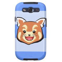 Cute Red Panda  (Blue Stripes) Galaxy S3 Case