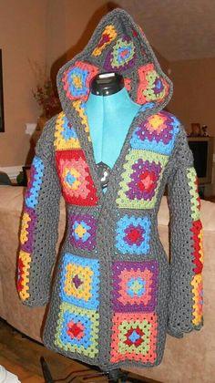 crochet granny squares vest at DuckDuckGo Crochet Hoodie, Crochet Jacket, Crochet Cardigan, Knit Crochet, Hippie Crochet, Granny Squares, Crochet Fashion, Irish Crochet, Beautiful Crochet