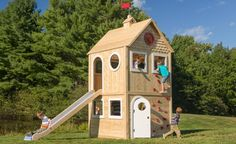 Playhouse 686 wooden cedar playhouse is splinter-free chemical-free and maintenance-free and features swings slides climbing walls jungle gyms and Cedar Playhouse, Outside Playhouse, Garden Playhouse, Build A Playhouse, Playhouse Outdoor, Outdoor Toys, Outdoor Fun, Outdoor Decor, Playhouse Decor