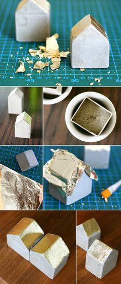 Dani vom DIY Blog Gingered Things zeigt dir wie du diese kleinen Deko Beton Häuschen gießen kannst.
