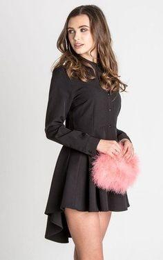 Annie black hi lo tunic shirt dress by UNIQUE21 Tunika-hemd 9e30373bfa0