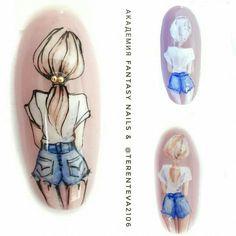 Nail Art Designs Videos, Cute Nail Art Designs, Gel Nail Designs, Disney Inspired Nails, Nail Drawing, New Nail Art Design, Image Nails, Natural Nail Designs, French Nail Art