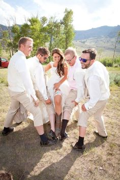 Wyoming wedding, bride, rustic wedding, boots, country wedding, groomsman, funny wedding photos - for mor gerat ideas and inspiration visit us at Bride's Book