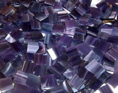 100 1/2 Inch Purple Wispy Stained Glass Mosaic Tiles