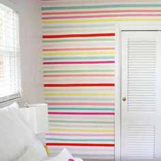 Washi tape works as removable decorations for renter-friendly walls