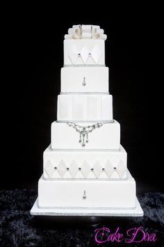 White bling wedding cake