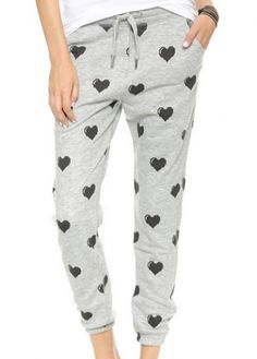 Heart Print Drawstring Pants