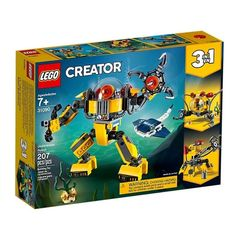LEGO Creator - Underwater Robot and thousands more of the very best toys at Fat Brain Toys. Build an underwater robot, an exploration submarine, or an underwater crane, all with this one LEGO set! Lego Creator Sets, The Creator, Lego Technic, Lego City, Robot Eyes, Transformers, Build A Robot, Van Lego, Bathrooms